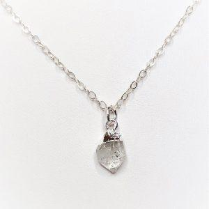 Herkimer Diamond Raw Stone Sterling Silver Pendant