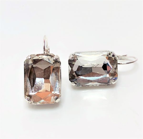 Clear Glass Crystal Octagon Silver Plated Earrings
