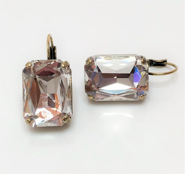 Clear Glass Crystal Octagon Brass Earrings