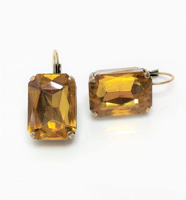 Topaz Glass Crystal Octagon Brass Earrings