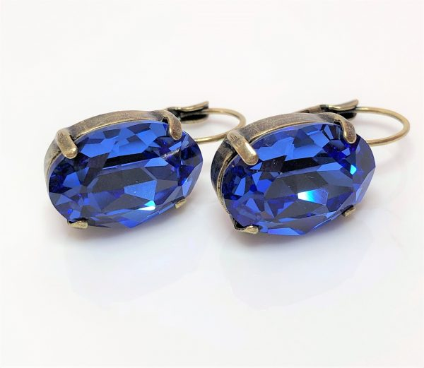 Sapphire Crystal Antique Brass Earrings