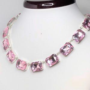 Pink Rhinestone Crystal Octagon Collet Necklace