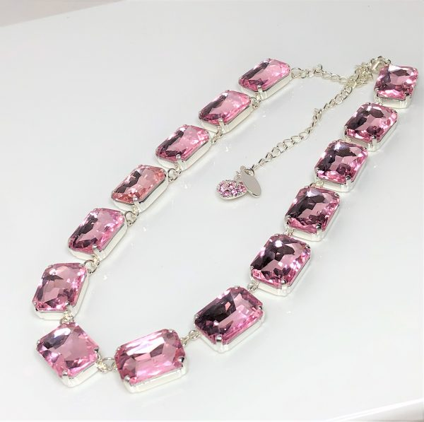 Pink Rhinestone Crystal Georgian Collet Necklace