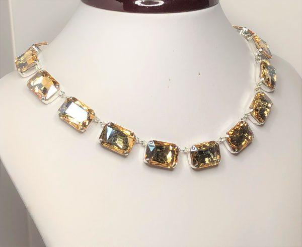 Light Silk Rhinestone Crystal Georgian Collet Necklace