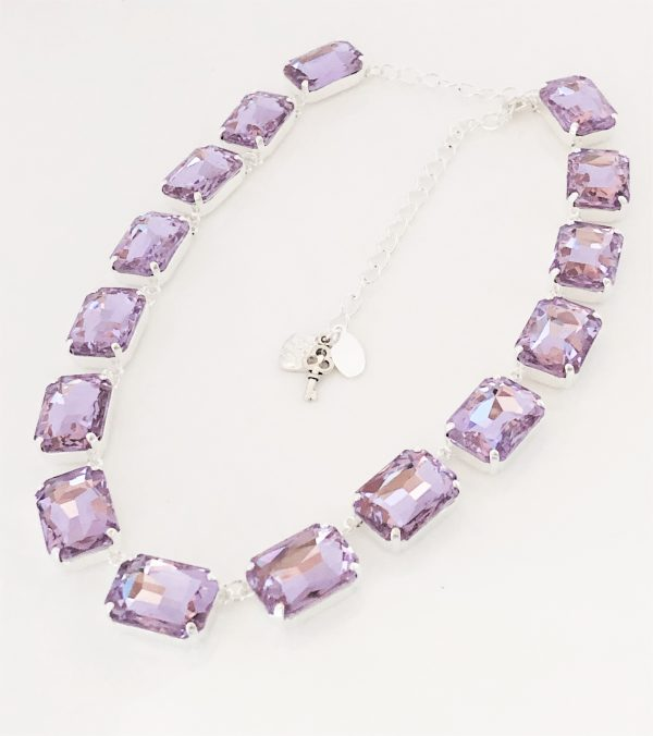 Purple Rhinestone Crystal Georgian Collet Necklace