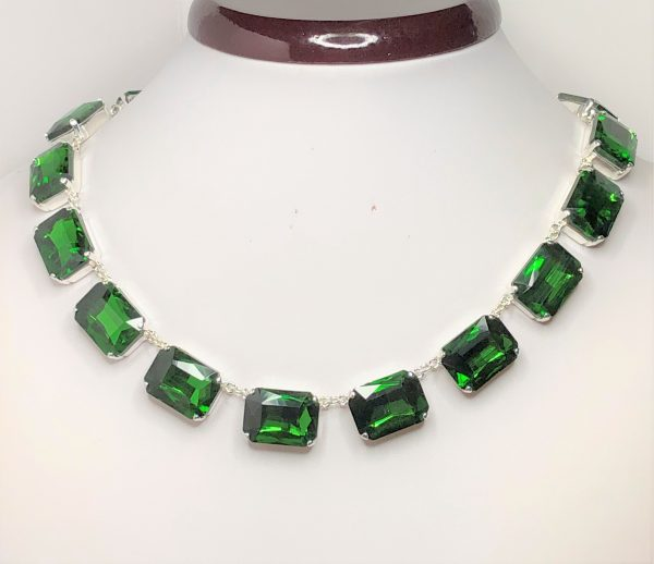 Emerald Rhinestone Crystal Georgian Collet Necklace