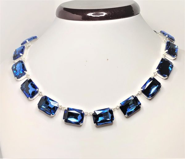 Sapphire Rhinestone Crystal Georgian Collet Necklace