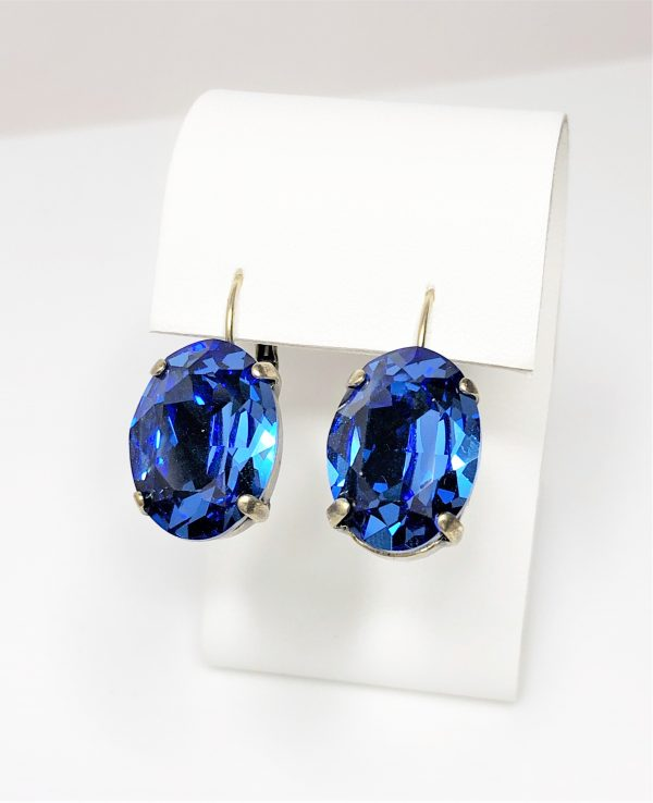 Sapphire Crystal Antique Bronze Earrings