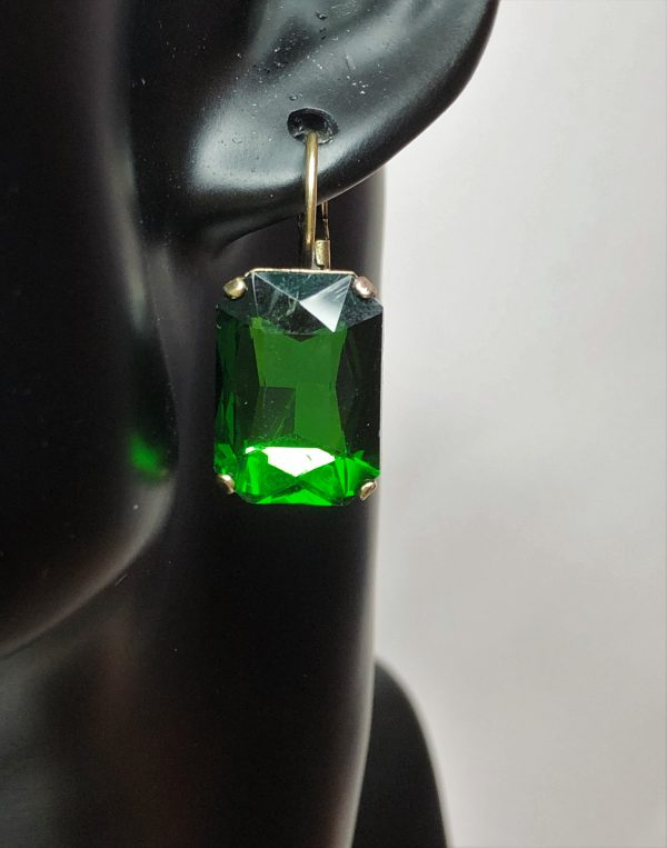 Emerald Glass Crystal Octagon Antique Brass Earrings