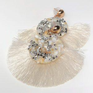 White Bohemian Crystal Tassel Earrings
