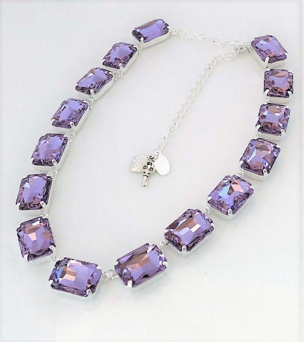 Purple Rhinestone Crystal Georgian Collet Necklace