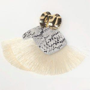 White Bohemian Fringe Tassel Earrings