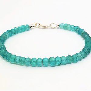 Blue Apatite Gemstone Silver Bracelet