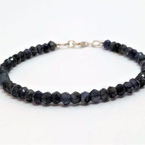 Blue Iolite Gemstone Silver Bracelet