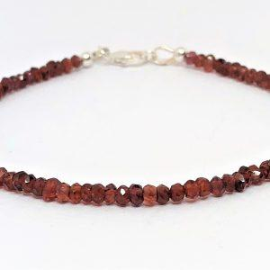 Red Garnet Gemstone Silver Bracelet