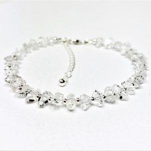 Herkimer Diamond Gemstone Silver Bracelet