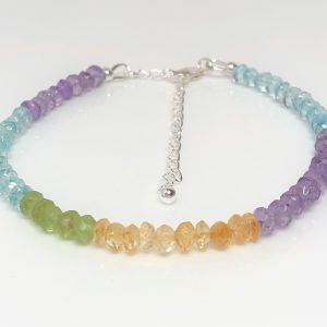 Multicolour Gemstone Sterling Silver Bracelet