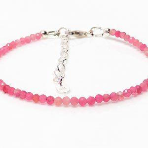 Pink Tourmaline Gemstone Sterling Silver Bracelet
