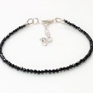Black Spinel Gemstone Sterling Silver Bracelet