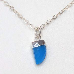 Blue Chalcedony Tiger Nail Pendant