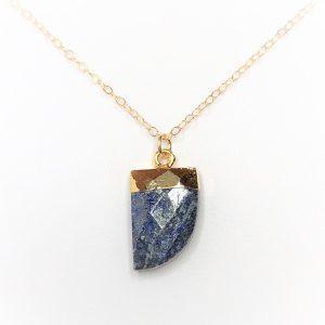 Lapis Lazuli Tiger Nail Gold Filled Pendant