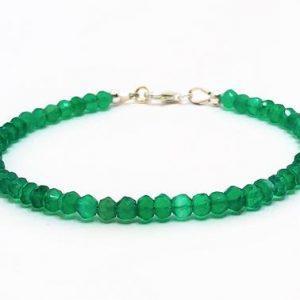 Green Onyx Gemstone Silver Bracelet