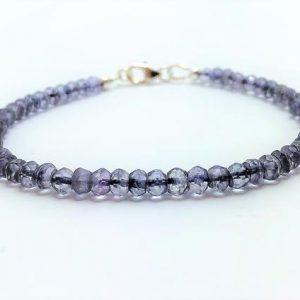 Blue Mystic Quartz Gemstone Silver Bracelet