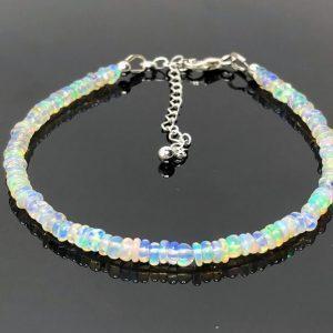 Ethiopian Opal Gemstone Silver Bracelet