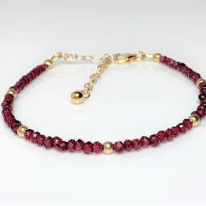 Red Garnet Gold Filled Minimalist Bracelet