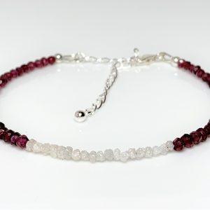 White Diamond Garnet Silver Bracelet