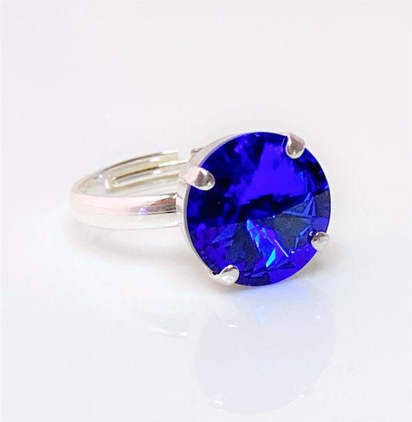 Majestic Blue Swarovski Crystal Solitaire Ring