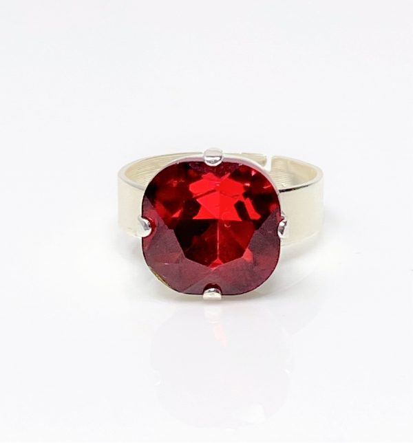 Red Siam Rhinestone Crystal Solitaire Ring