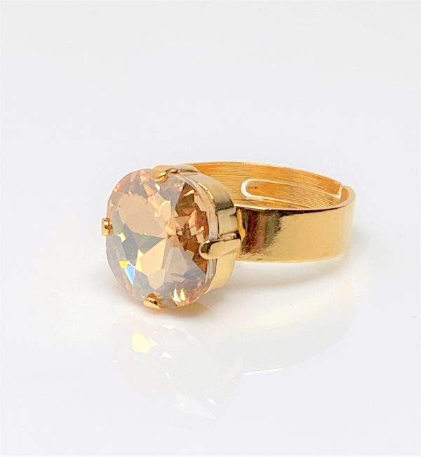 Light Silk Rhinestone Crystal Solitaire Ring