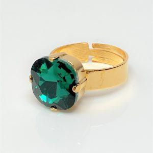 Emerald Rhinestone Crystal Solitaire Ring