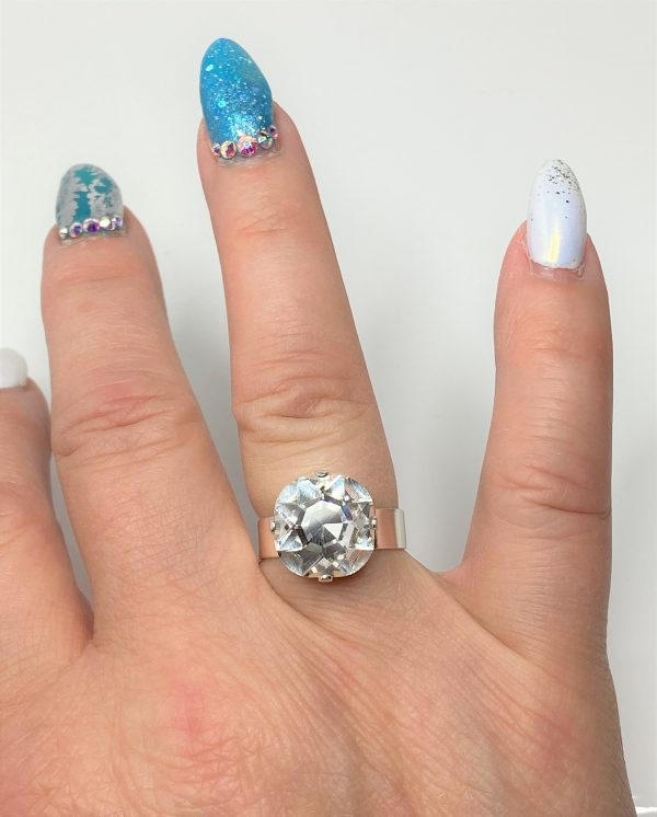 Clear Rhinestone Crystal Solitaire Ring