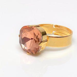 Peach Rhinestone Crystal Solitaire Ring