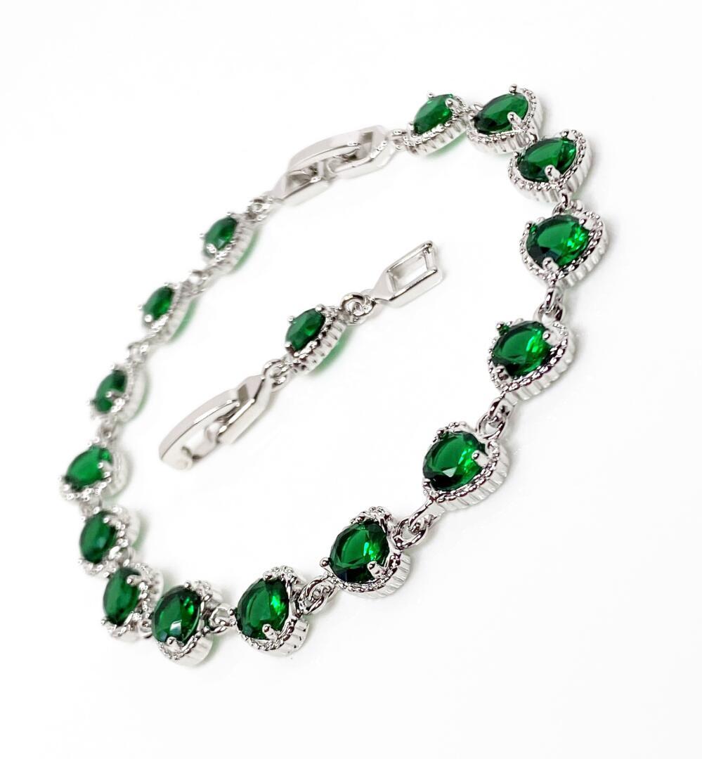 green crystal bracelet Green  Crystal Bracelet Majestic Collection Stretch Tennis Bracelet Crystal Bracelet Gift For Her